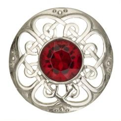 Culloden Plaid Brooch with Stone