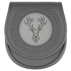 Classic Jacobite Stags Head Leather Sporran