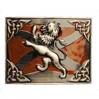 Gürtelschnalle Celtic Lion Rampant Antik Orange