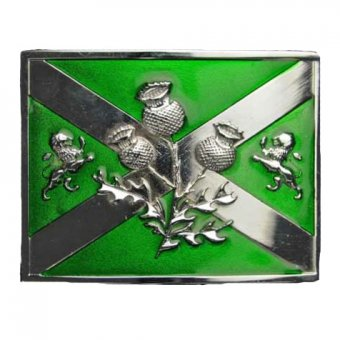 Chrome Celtic Thistle buckle Green