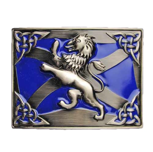 Gürtelschnalle Celtic Lion Rampant Antique Blau